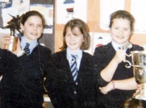 Michaela Harte (left) in St.Malachy's Primary School where she attended as a pupil and later completed her teaching placement.