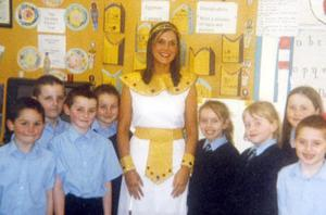 Micheala Harte in fancy dress in  St.Malachy's Primary School where she attended as a pupil and later completed her teaching placement..