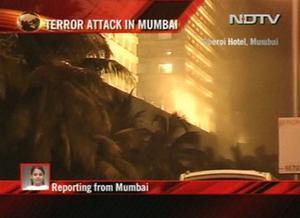 A fire burns at the Oberoi hotel in Mumbai, India in this image made from television, Wednesday, Nov. 26, 2008