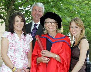 Proud Day: Wendy receiving an honorary degree with husband Frank Hewitt and her daughters Kerry and Clare