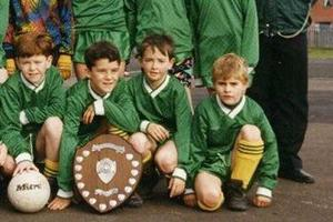 Far right is  Celtic and Northern Ireland footballer Paddy McCourt  among the Foyle Harps team from 1992 Mallusk NI U-11 Tournament  Winners? Picture kindly submitted by Liam Quinn