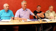 The families of some of those killed in the McGurk's Bar bomb attended a Press conference in Belfast yesterday. They are (left-right) Alec McLaughlin, Paul O'Connor, Gerard Keenan and Robert McClenaghan