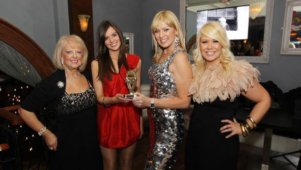 Newcomer of the Year Fionola Guinnane with Valerie Kirkpatrick, Alison Campbell and Joleen McKee at the Alison Campbell Modelling Agency Christmas Party at Cafe Vaudeville. Picture by Kelvin Boyes / PressEye.com