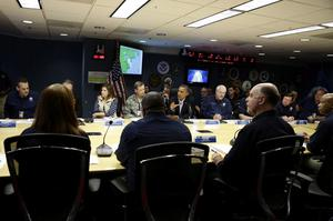President Barack Obama, center, speaks during a briefing at Federal Emergency Management Agency headquarters, with FEMA Administrator Craig Fugate, at right, in Washington, on Sunday, Oct. 28, 2012. FEMA is coordinating the deployment of federal resources in preparation for Hurricane Sandy. (AP Photo/Jacquelyn Martin)
