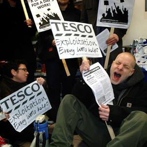 Right to Work campaigners occupy the Tesco Express store at Portcullis House, Westminster