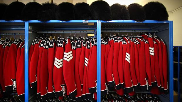 WINDSOR, ENGLAND - APRIL 21:  Irish Guards ceremonial uniforms await collection form a store room at Victoria Barracks on April 21, 2011 in Windsor, England. The Irish Guards returned from active duty in Afghanistan at the beginning of April, and are now preparing for ceremonial duties. Prince William is the Colonel of the Regiment and the Irish Guards will be on duty at the Royal Wedding on April 29, 2011.  (Photo by Peter Macdiarmid/Getty Images)