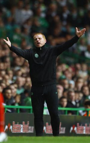 Celtic manager Neil Lennon shows his frustration during the UEFA Europa League qualifying round, first leg match between Celtic and FC Sion