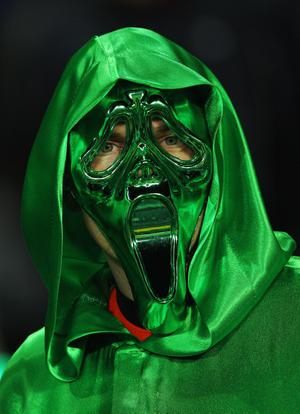 AUCKLAND, NEW ZEALAND - SEPTEMBER 17:  A masked Ireland fan looks on ahead of the IRB 2011 Rugby World Cup Pool C match between Australia and Ireland at Eden Park on September 17, 2011 in Auckland, New Zealand.  (Photo by Cameron Spencer/Getty Images)