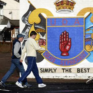An Ulster Defence Association (UDA) mural on the Shankill Road, Belfast