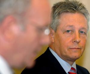 First Minister Peter Robinson (right) and Deputy First Minister Martin McGuinness at a press conference in Stormont Castle