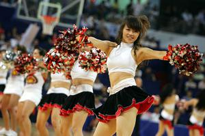 hinese cheerleaders perform at the break of the USA Basketball Men's Senior National Team against the Russian National Team during the USA Basketball International Challenge exhibition game at the Qizhong Arena on August 3, 2008 in Shanghai, China.