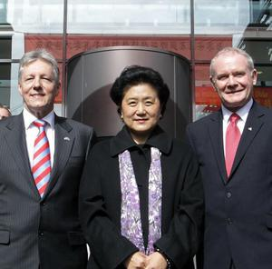 Madame Liu Yandong with First Minister Peter Robinson and Deputy First Minister Martin McGuinness at the launch of the Confucius Institute
