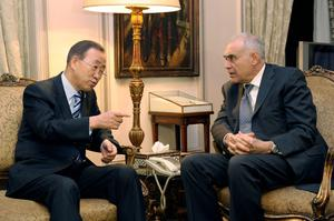 CAIRO, EGYPT - NOVEMBER 19:  In this handout photo provided by the United Nations, U.N. Secretary-General Ban Ki-moon (L) meets with  Egyptian Foreign Minister Mohammed Kamel Amr November 19, 2012 in Cairo, Egypt.  Ban arrived in Cairo to support Morsi's efforts to mediate a truce. He is scheduled to visit Jerusalem and the West Bank city of Ramallah this week for talks with Netanyahu and Palestinian President Mahmoud Abbas on the crisis in Gaza.  (Photo by Evan Schneider/UN via Getty Images