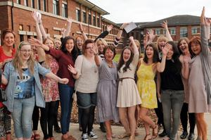Puplis celebrate their A-level results at Thornhill College, Derry last year, many this year face tough choices on the next step