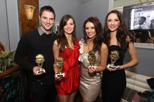 Male Model of the Year Rob Rea, Newcomer of the Year Fionola Guinnane, Promotional Model of ythe Year Jacqueline Gracey and Model of the Year Ciara McStravick at the Alison Campbell Modelling Agency Christmas Party at Cafe Vaudeville. Picture by Kelvin Boyes / PressEye.com