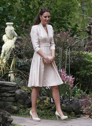 The Duchess of Cambridge attends an orchid-naming ceremony during the first engagement in Singapore, as part of a nine-day tour of the Far East and South Pacific, with the Duke of Cambridge, in honour of the Queen's Diamond Jubilee.