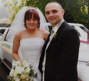 Libby Nash with husband James on their wedding day