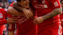 LIVERPOOL, ENGLAND - JANUARY 28:  Daniel Agger of Liverpool celebrates scoring the opening goal with his team mate Martin Skrtel (R) during the FA Cup Fourth Round match between Liverpool and Manchester United at Anfield on January 28, 2012 in Liverpool, England.  (Photo by Alex Livesey/Getty Images)