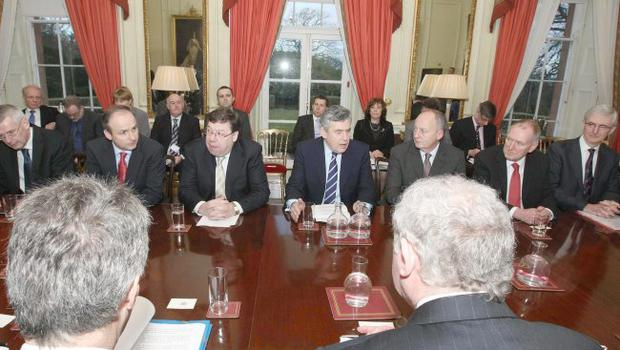 Prime Minister Gordon Brown and his Irish counterpart Brian Cowen at the roundtable session of the assembly to discuss the deal the DUP and Sinn Fein have agreed over the devolution of policing and justice powers from Westminster to Northern Ireland.