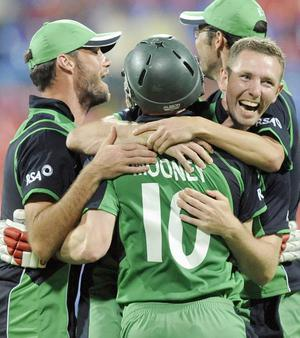Ireland's John Mooney celebrates scoring the winning runs during the ICC Cricket World Cup match at the at M Chinnaswamy Stadium, Bangalore, India.
