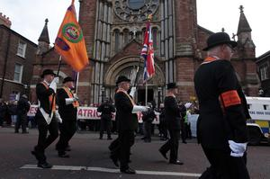 Ulster Covenant centenary parade passes St Patrick's Church in Belfast