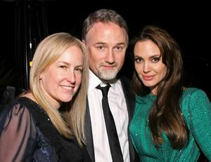 BEVERLY HILLS, CA - JANUARY 16:  (L-R) Producer Cean Chaffin, director David Fincher and actress  Angelina Jolie attend the Sony Pictures Classic 68th Annual Golden Globe Awards Party held at The Beverly Hilton hotel on January 16, 2011 in Beverly Hills, California.  (Photo by Neilson Barnard/Getty Images)
