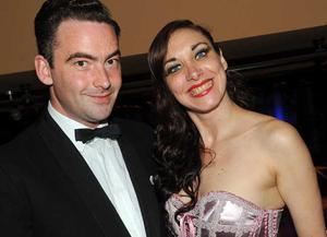 Tadhg Morgan from The Bedlam Ballroom with Burlesque artist Gypsy Charms are pictured at the final of Pepsi Sexiest Man 2009 in association with Northern Woman. The final took place in Northern Whig, Belfast
