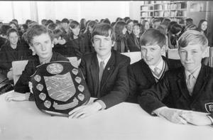 The team from Dunlambert Boys' Secondary School, winners of the Belfast Education Authority inter-schools road safety quiz, who defeated the girls from Carolan Grammer School. They are (from left), George Clyde (15), William Greer (14), Keith Henderson (13), and Andrew Speers (12), 1970.