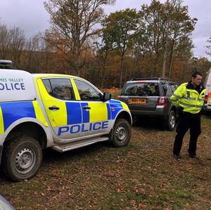 Police in High Standing Hill just outside Windsor, where officers had been searching for the body of Joanna Brown