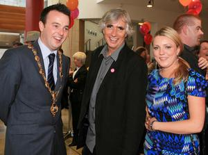 The Mayor and Mayoress of Derry, Councillor Colum Eastwood and Rachael Parkes with playwright Phil Redmond, chairman, UK City of Culture 2013 judging panel