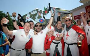 England fans outside the Golden Lion in Donetsk, Ukraine