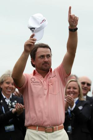 Graeme McDowell of Northern Ireland celebrates on the 18th green after winning the 110th U.S. Open at Pebble Beach Golf Links on June 20, 2010 in Pebble Beach, California