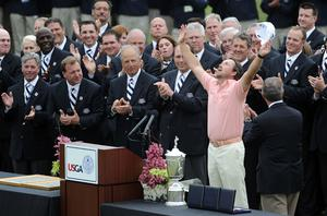 Graeme McDowell of Northern Ireland waves to the gallery on the 18th green after winning the 110th U.S. Open at Pebble Beach Golf Links on June 20, 2010 in Pebble Beach, California