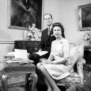 File photo dated 20/11/1972 of Queen Elizabeth II and Duke of Edinburgh celebrating their Silver Wedding Anniversary in the Belgian suite in Buckingham Palace. PRESS ASSOCIATION Photo.