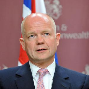 William Hague has warned that prospects for a UN Security Council resolution on Syria are 'on a knife edge'