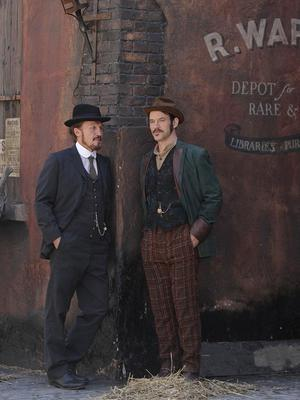 Jerome Flynn and Adam Rothenberg on the set of the BBC drama Ripper Street