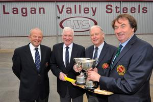 Tommy Anderson of Lagan Valley Steels (second left) with (from left) Richard Johnson, NCU sponsorship officer, Brian Walsh, NCU chairman, and Chris Harte, NCU president, at the T20 launch