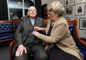 27/1/12 PACEMAKER BELFAST.  The Rev. Ian Paisley has his waistcoat buttoned up by his wife Baroness Paisley before  the Special Farewell Service in his honour after 65 years of Ministry at the Martyrs Memorial Church, on the Ravenhill Road, Belfast. Picture CHARLES MCQUILLAN/PACEMAKER