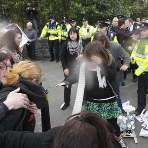 Gardai use pepper spray as they clash with anti-austerity protestors at the Labour Party conference at NUI Galway