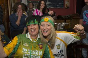 Donegal fans celebrating the victory of the Donegal team in the All-Ireland final with Mayo in Downings, Co Donegal.  Pic by Philip Fitzpatrick