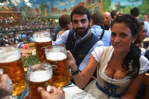MUNICH, GERMANY - OCTOBER 02:  Grigoris Makos of 1860 Muenchen attends with his wife Athena Makos the Oktoberfest 2012 at Hacker Festzelt on October 2, 2012 in Munich, Germany.  (Photo by Alexander Hassenstein/Bongarts/Getty Images)