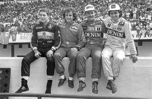 Nigel Mansell, Ayrton Senna, Nelson Piquet, 1987 The 1987 Formula One saw Mansell (second right) enjoy a fractious relationship with his two Brazilian counterparts. By the third race of the season, in the Belgium Grand Prix, Mansell and Senna (left), along with Piquet (right), were already regarded as the main contenders for the title. Neither Mansell nor Senna was the type to yield track-position easily, so when Senna moved to overtake, the pair clashed and were forced to retire. The British driver returned to the pit-lane in fury; he stormed down to the McLaren garage and pinned Senna against the wall by the throat. Never, the shy and retiring type, Mansell was also busy falling out with his Williams team-mate, Piquet. The Brazilian had arrived at Williams as World Champion and expected to occupy the number one seat; but Mansell had no intention of playing second-fiddle. Their relationship deteriorated dramatically over the course of the season and by Hungary, halfway through the season, Piquet had already agreed to leave. Nonetheless, the pair traded race victories throughout the year and the Brazilin won the title with 73 points to Mansell's 61, Senna finished a further four points behind in third.