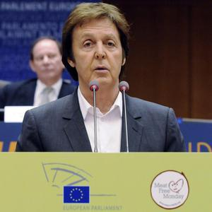 Sir Paul McCartney addresses the European Parliament  in Brussels (AP)