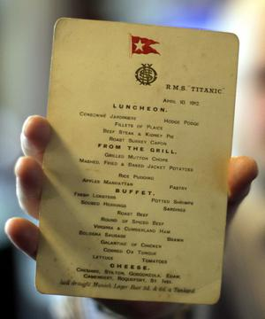 An original Titanic menu from April 10th 1912