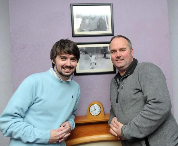 George Best lookalike competition winner Mark O'Hare visits the former Manchester United star's house at Burren Way, Belfast and is given a guided tour by George's brother Ian