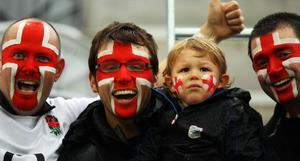 DUNEDIN, NEW ZEALAND - SEPTEMBER 24:  England fans enjoy the atmosphere ahead of the IRB 2011 Rugby World Cup Pool B match between England and Romania at Otago Stadium on September 24, 2011 in Dunedin, New Zealand.  (Photo by Warren Little/Getty Images)