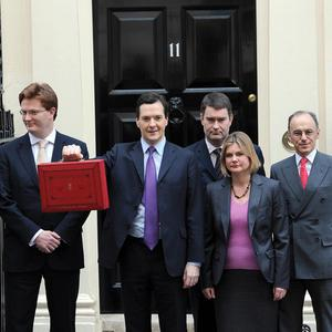 The Chancellor of the Exchequer and his Treasury team leave 11 Downing Street