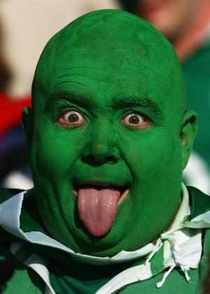 ROTORUA, NEW ZEALAND - SEPTEMBER 25: An Ireland fan poses prior to the IRB 2011 Rugby World Cup Pool C match between Ireland and Russia at Rotorua International Stadium on September 25, 2011 in Rotorua, New Zealand.  (Photo by Teaukura Moetaua/Getty Images)