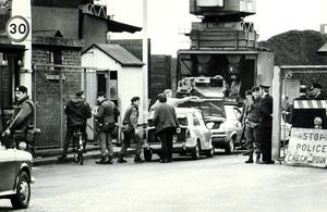 Soldiers checking cars entering the harbour estate in Belfast after they had taken over the petrol and oil facilities. Ulster Workers Council Strike 27/05/74