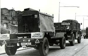 Army generators move along the Sydenham By-Pass. Ulster Workers Council Strike 23/05/74